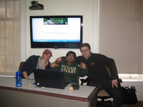 (Left to Right): Me, Mohan, and James watching the 2011 Cricket World Cup